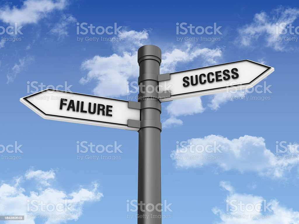Directional Sign with Sucess Failure Words stock photo