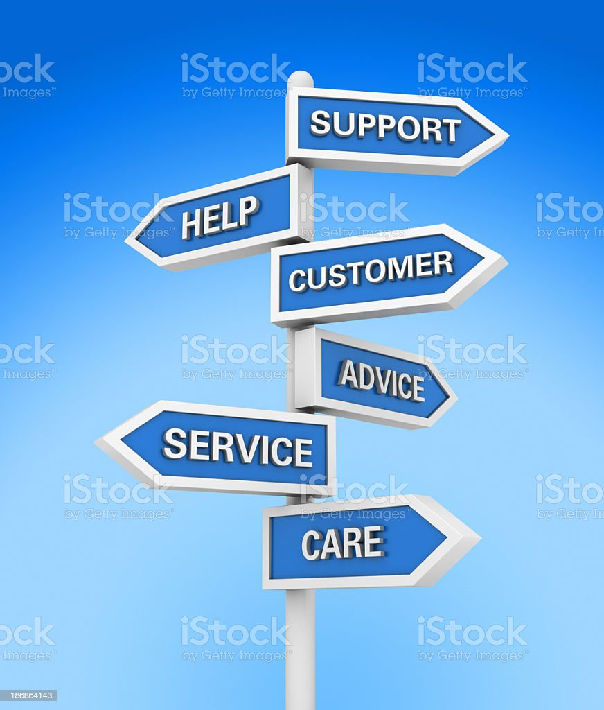 Directional Sign with Support Words stock photo
