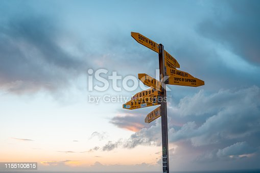 Directional Signpost at Cape Reinga, New Zealand.