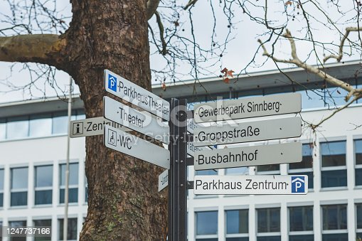 Directional signs for the local and tourists destinations in Bad Kissingen downtown, Bavarian Region, Germany