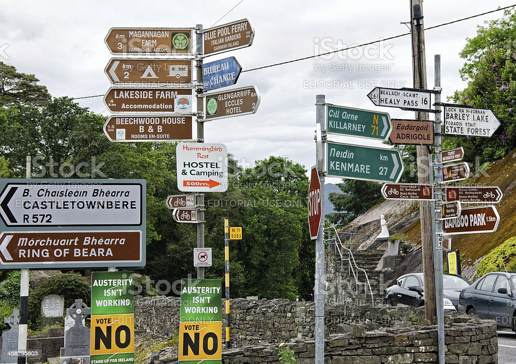 Directional signs in Glengarriff, Ireland royalty-free stock photo