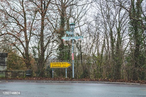 Bad Kissingen/Germany-1/1/19: Directional signs for the local destinations in Rothenburg ob der Tauber and nearest towns, Bavaria, Germany