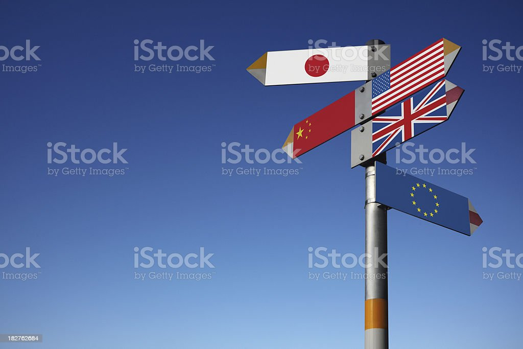 Directional signs of international flags on post stock photo