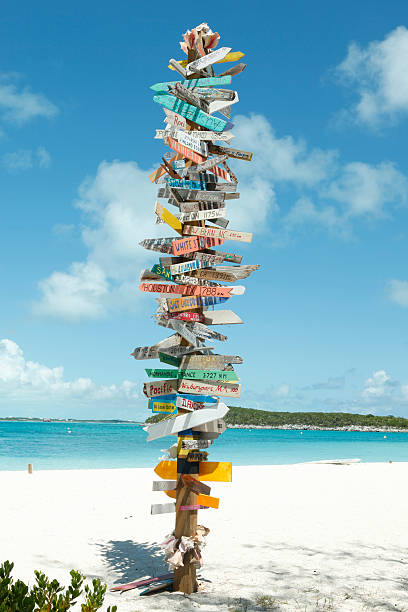 Directional Signs on Stocking Island stock photo