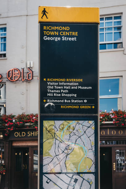 Directions and map board in Richmond, London, UK. stock photo