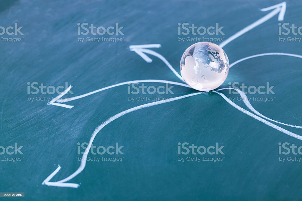 directions on a chalk board with world globe crystal ball stock photo