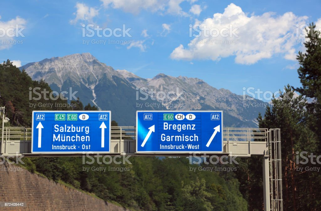 Directions on the motorway to go to Salzburg stock photo