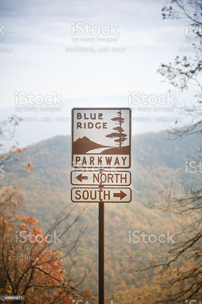 Directions sign on the Blue Ridge Parkway, Virginia, USA stock photo