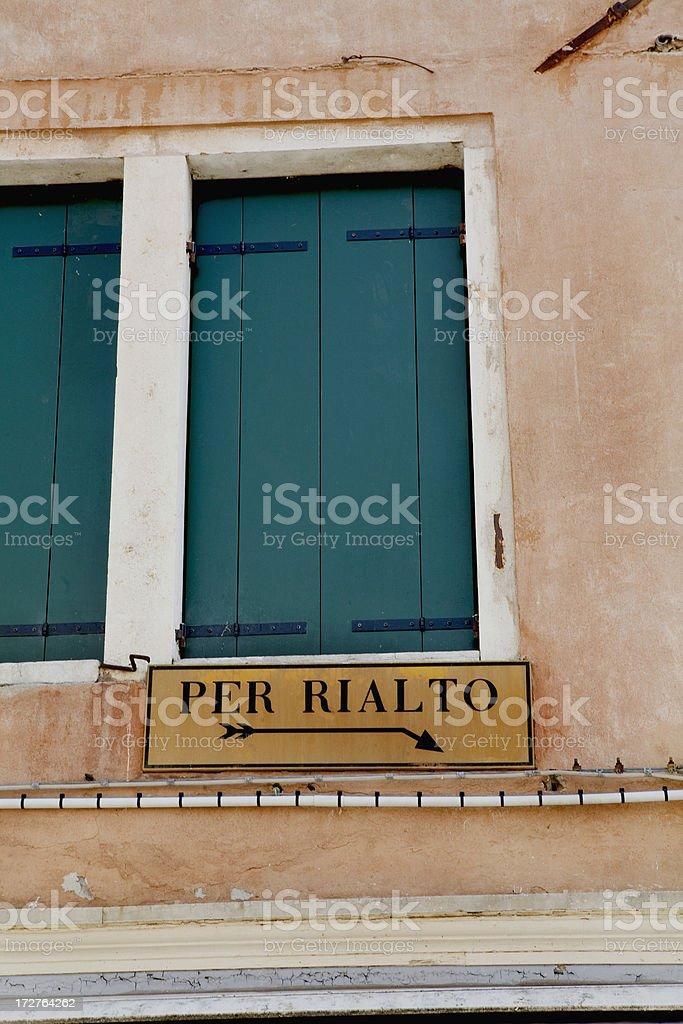 Directions to Rialto Sign Venice Italy royalty-free stock photo