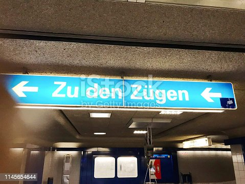 istock Directions to the train (platform). In German language 1145654644