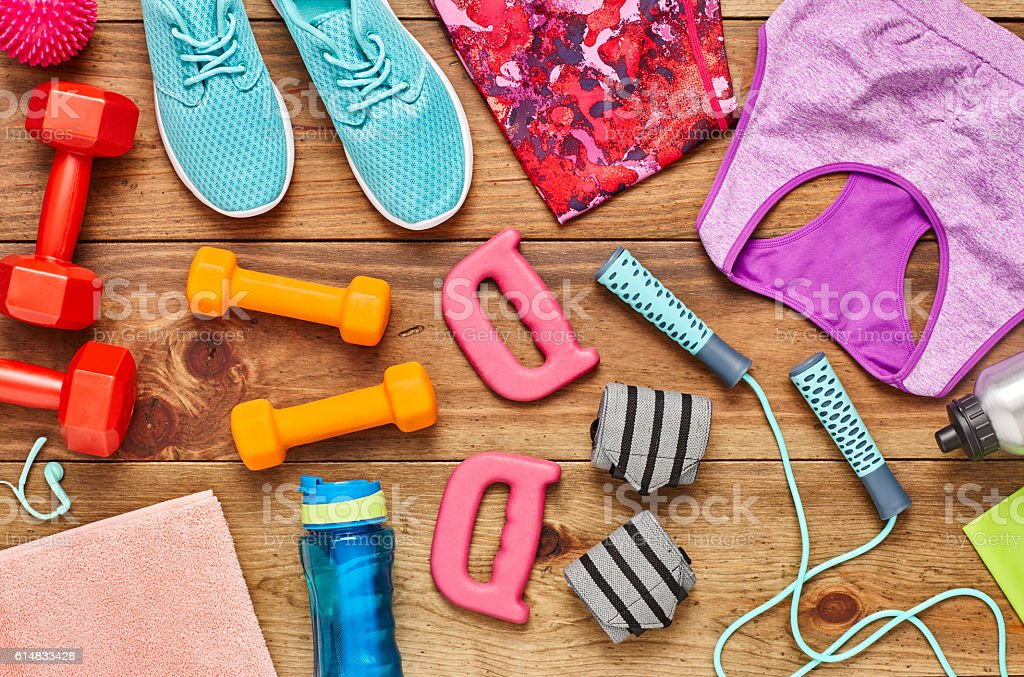 Directly above flat lay shot of various sports equipment stock photo