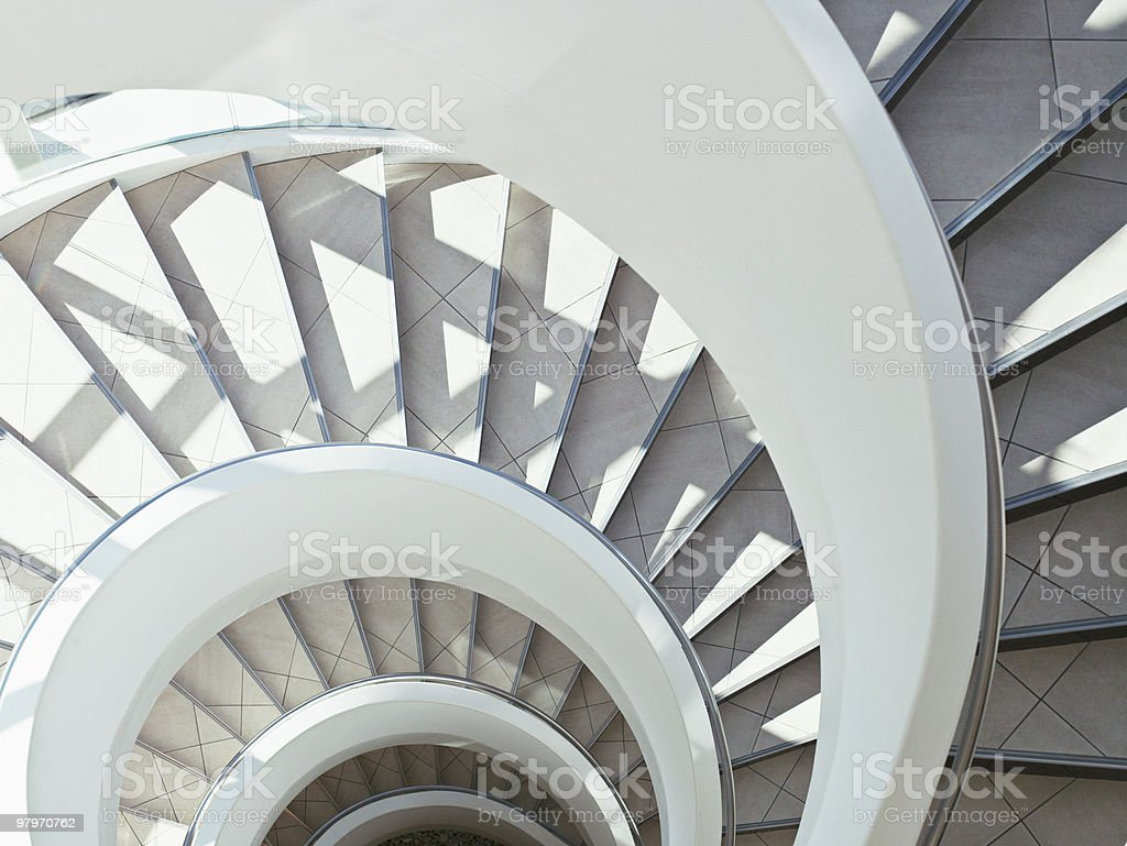 Directly above modern, spiral staircase royalty-free stock photo