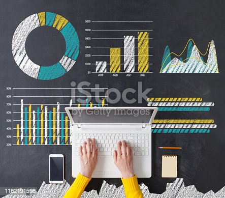 527033580istockphoto Directly above of a business woman's hand using laptop 1182191598