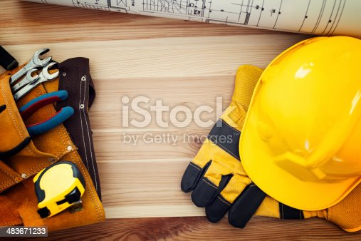 istock Directly above of table with work tools 483671233