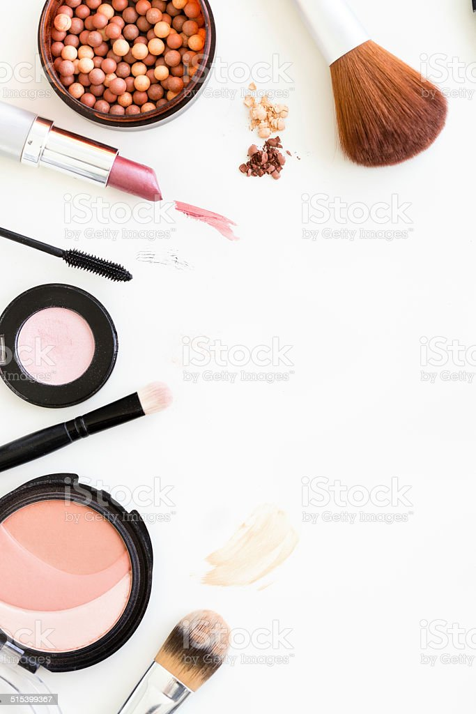Directly above shot of various makeup products stock photo
