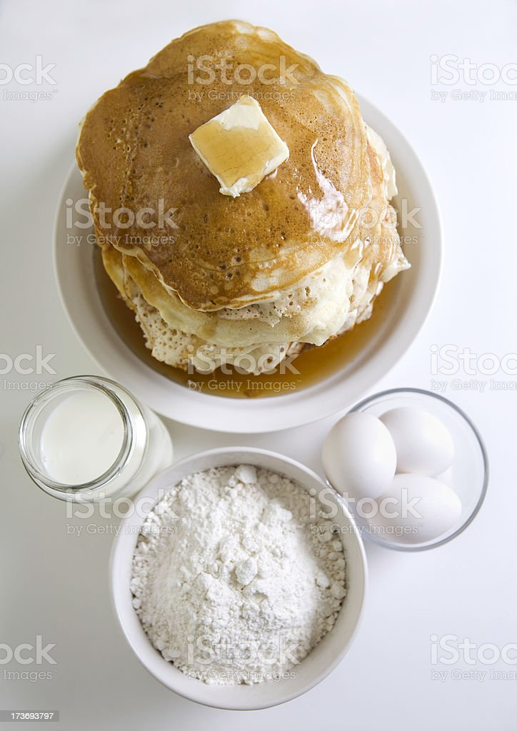 Directly Above Stack of Pancakes with Ingredients royalty-free stock photo