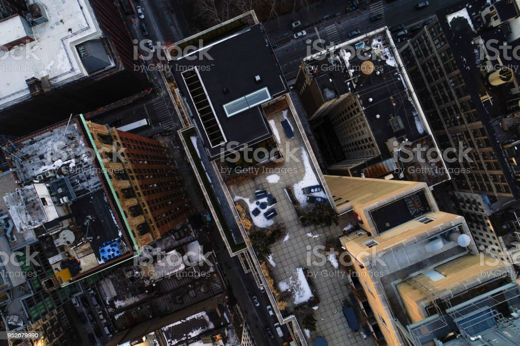 Directly above top aerial view of the traffic on the streets in...