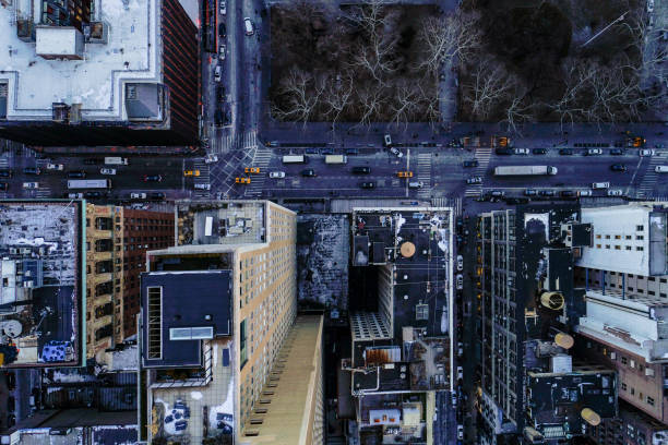 Directly above top aerial view of the traffic on the streets in Manhattan Downtown, nearby North Broadway stock photo