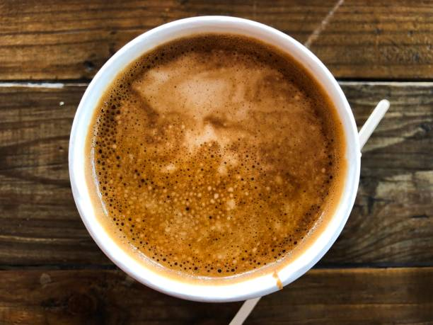 Directly above view of a take away coffee cup stock photo