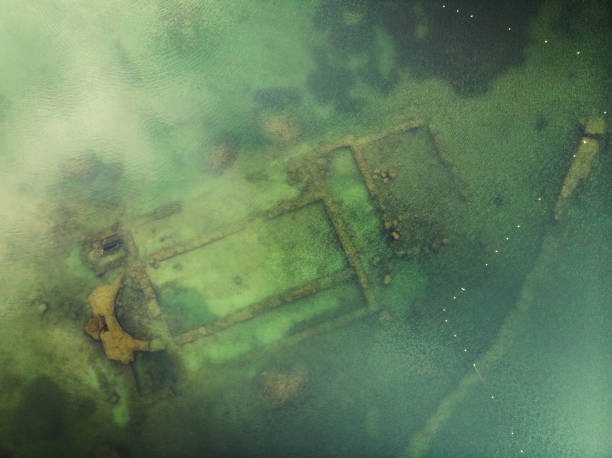 Directly Above View of Ancient Sunken Basilica in Iznik Lake, Turkey stock photo