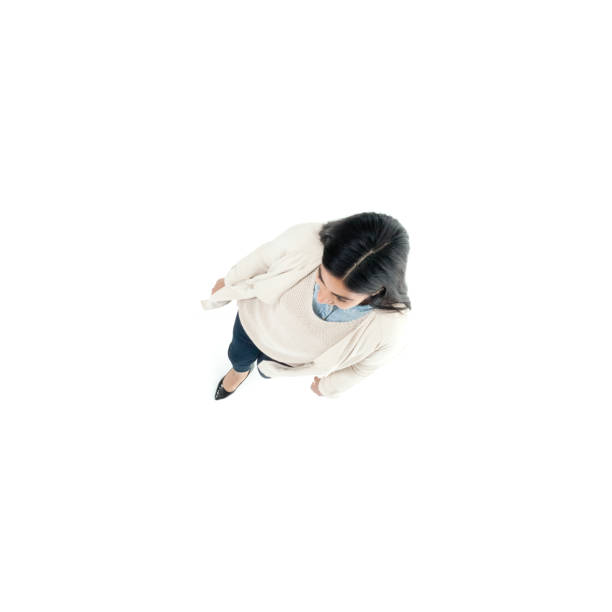 Direkt über der Ansicht der Geschäftsfrau zu Fuß – Foto