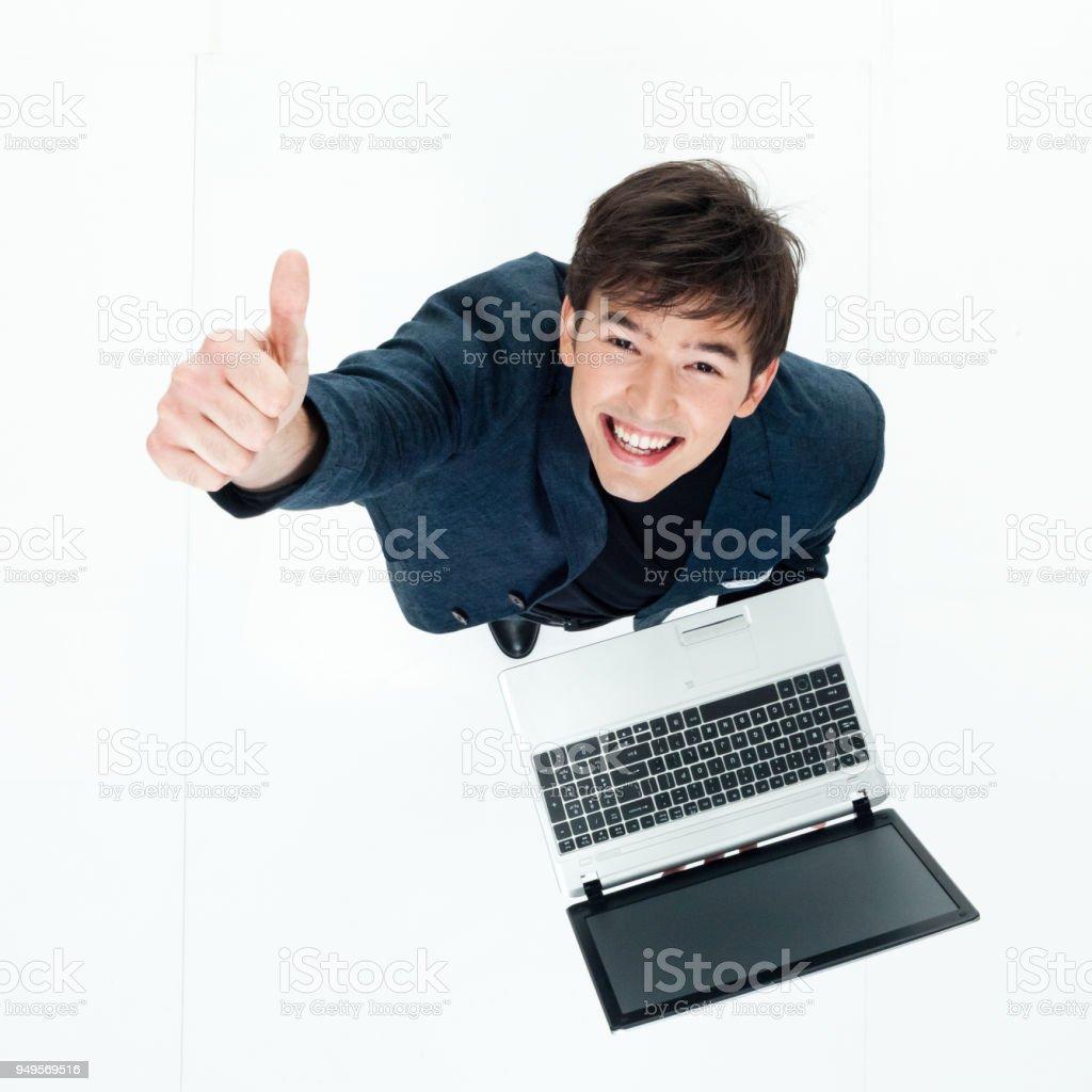 Direkt über dem Blick des Geschäftsmannes benutze ein laptop – Foto