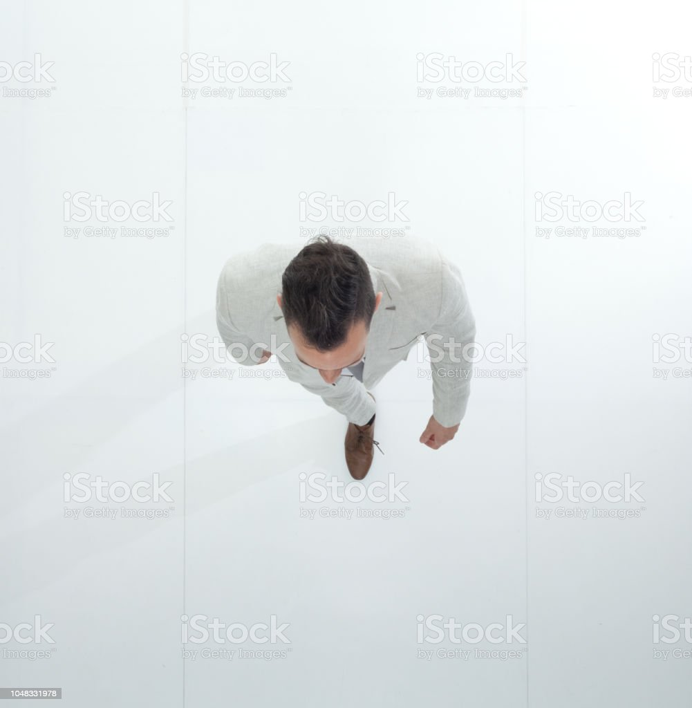 Directly above view of businessman