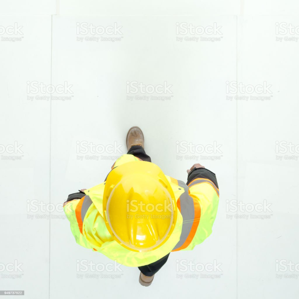 Directly above view of construction worker