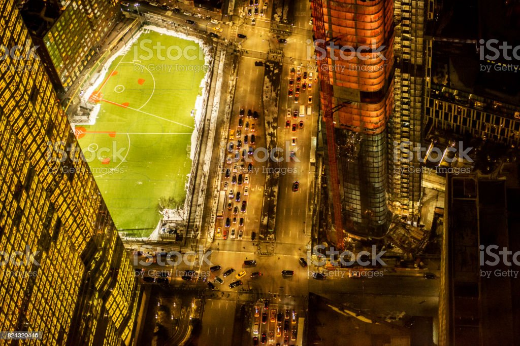 Directly above view of Lower Manhattan via One World Trade Center building's observation point stock photo
