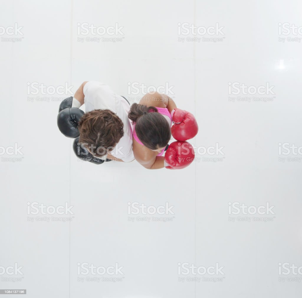 Directly above view of a man and a woman