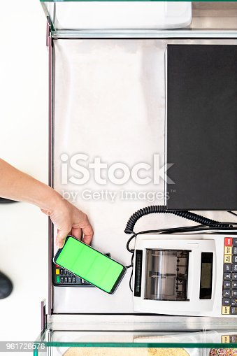 istock Directly above view of mobile payment 961726576