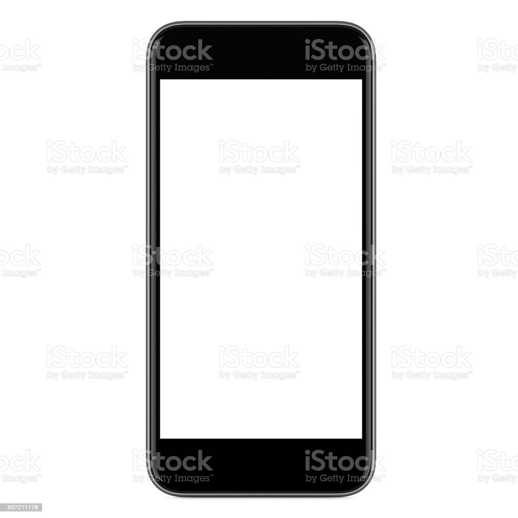 Directly front view of black mobile smart phone mockup with blank screen stock photo