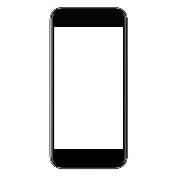 Vue de face directement de maquette noir mobile smartphone avec écran blanc - Photo