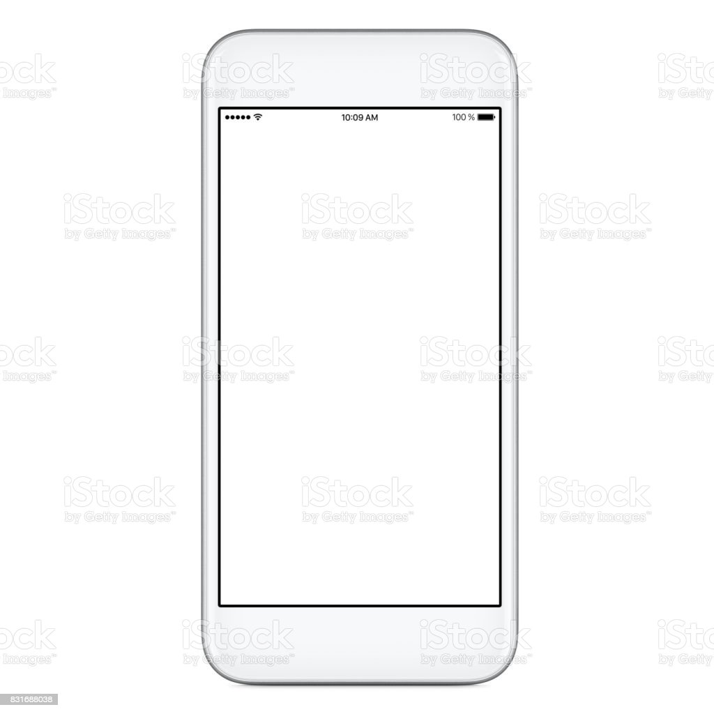 Directly front view of white mobile smart phone mockup with blank screen stock photo