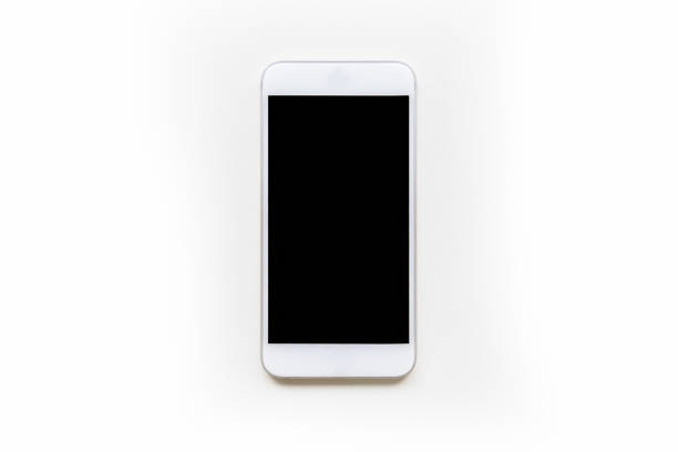 directly front view of white mobile smart phone mockup with blank screen - смартфон стоковые фото и изображения