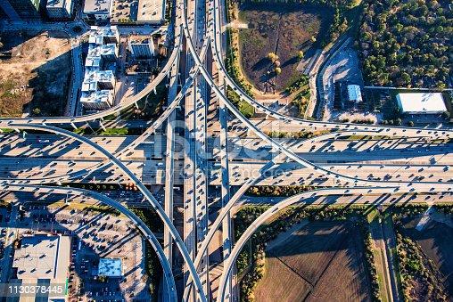 94502198istockphoto Directly over a Texas Freeway Interchange 1130378445