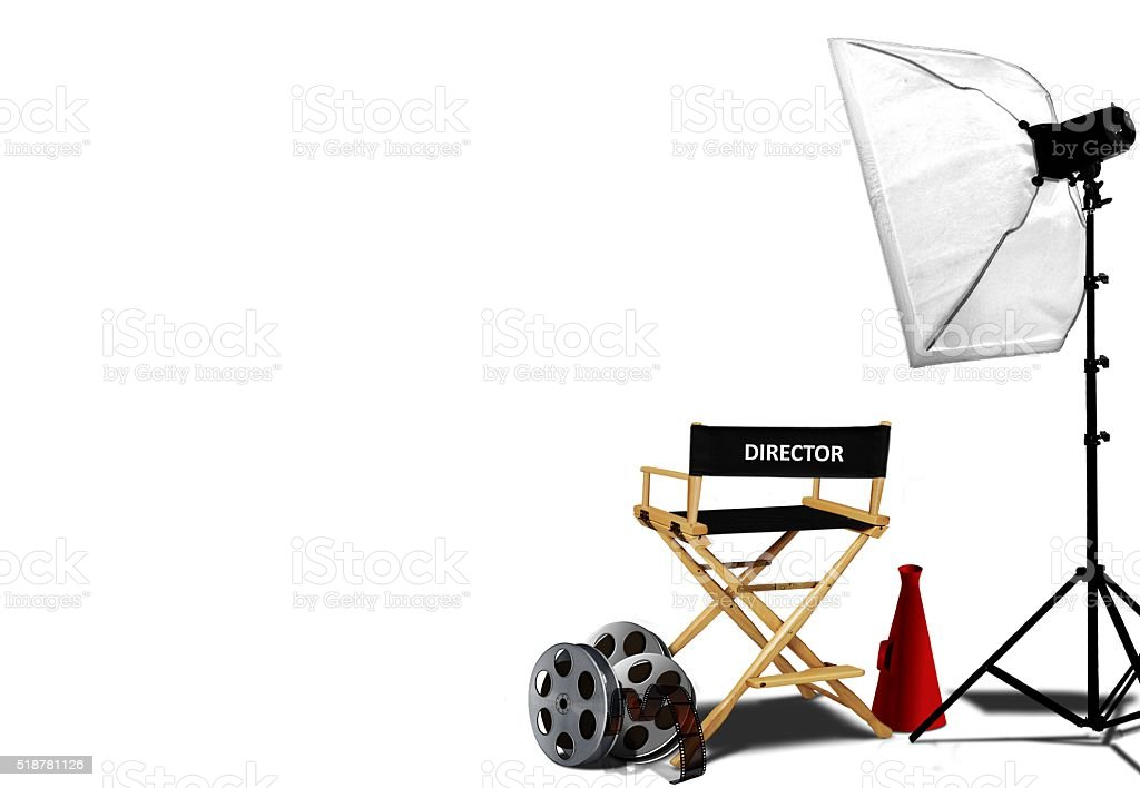 Director chair and equipment over white stock photo