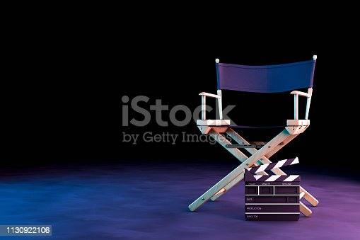 Director Chair and Movie Clapper with neon lights on black background, 3d rendering, cinematography concept.