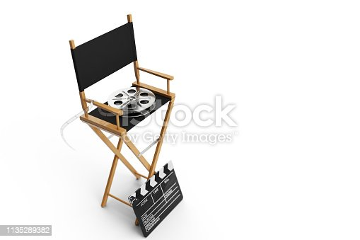 istock Director Chair, Movie Clapper and film reel. Director chair isolated on white background. 3D illustration 1135289382
