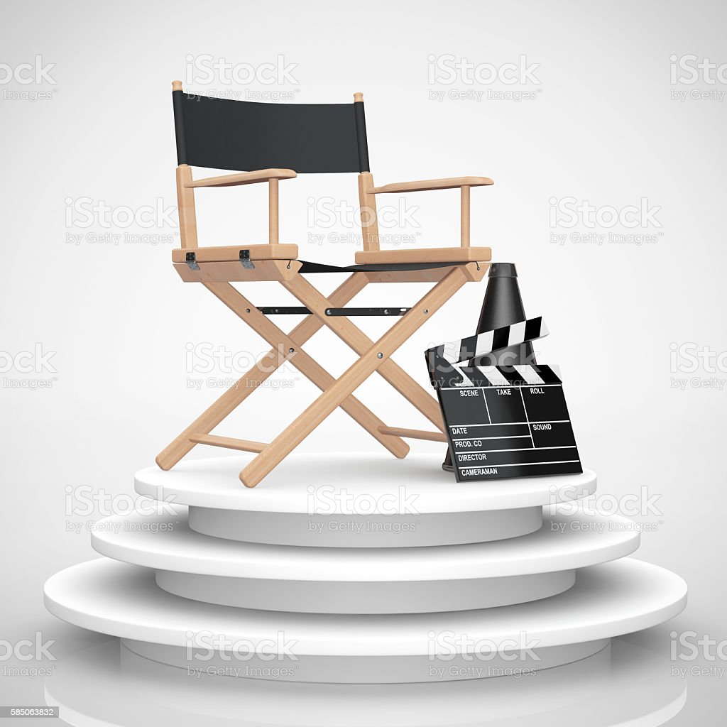 Director Chair, Movie Clapper and Megaphone over Round Stage on a...