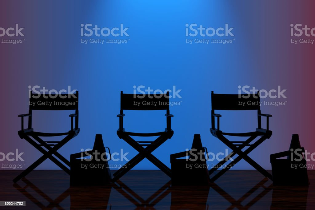 Director Chairs, Movie Clappers and Megaphones with Blue Backlight in...