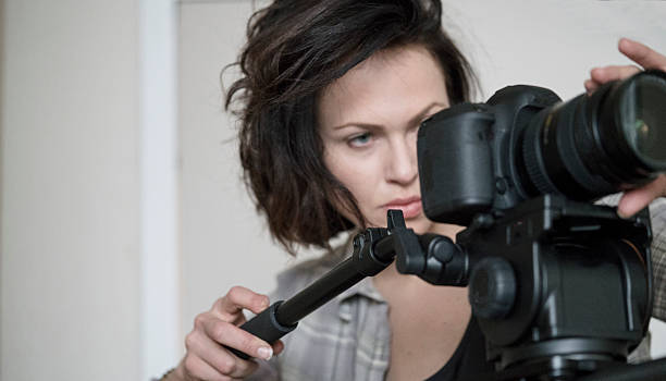 Director films a scene stock photo