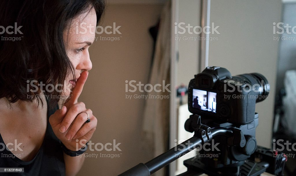 Director reviewing a scene just filmed stock photo