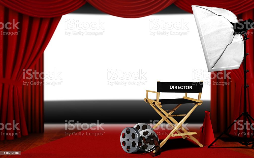 Director seats and cinema screen stock photo