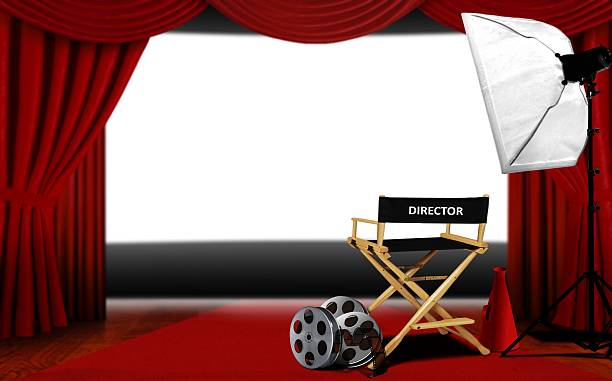 director seats and cinema screen - audition stock photos and pictures