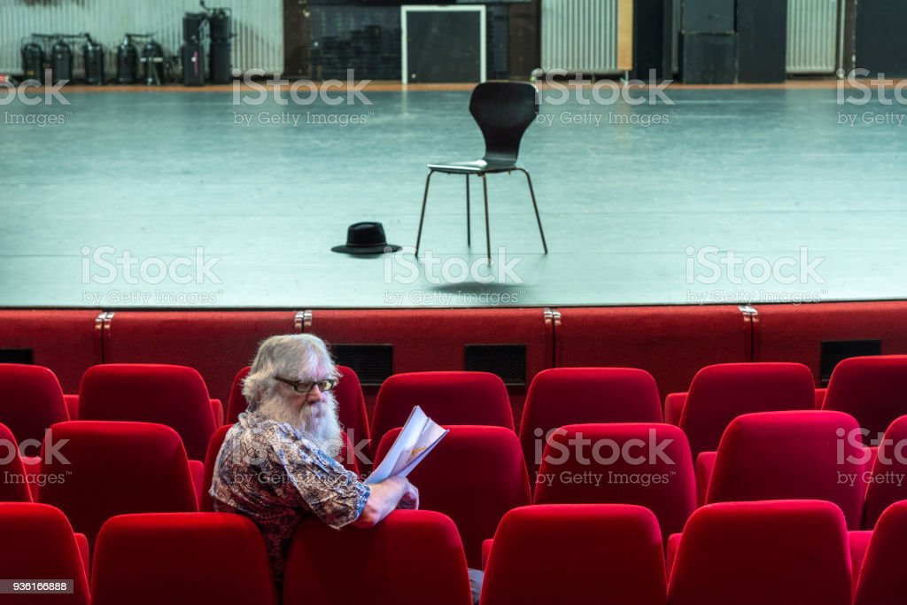 Director Working On A Script In An Empty Theatre With Red Chairs And A  Empty Stage
