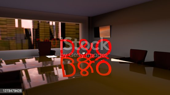 D&O. Directors and officers liability Insurance concept. Director's office with a large table and skyscrapers outside the window. 3d illustration