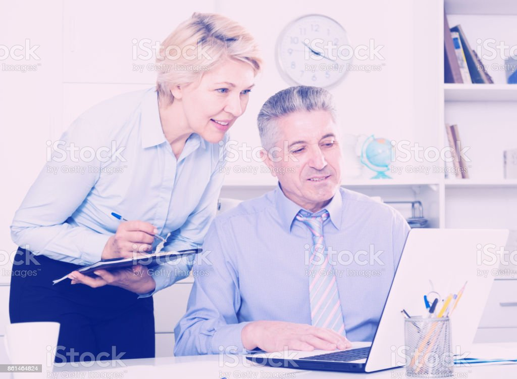 Director's assistant makes daily routine stock photo