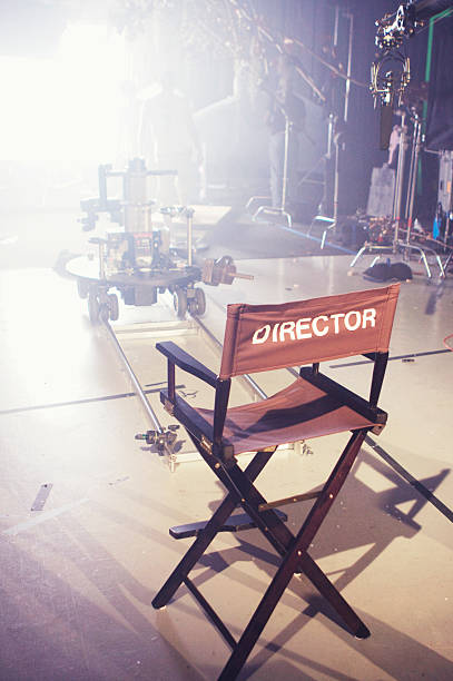 director's chair on movie and television set - film director stock pictures, royalty-free photos & images