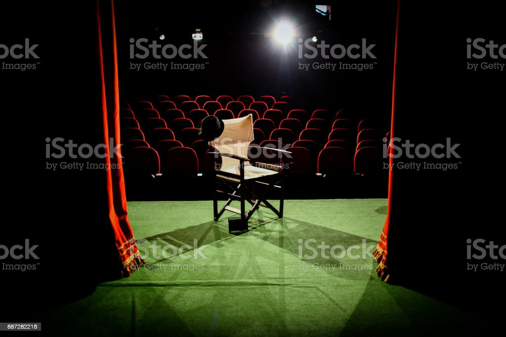 Director's chair on stage stock photo